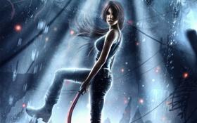 Обои вода, девушка, азия, арт, lara croft, кирка, Tomb Raider Reborn