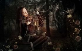 Картинка девушка, фон, лампа