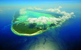 Обои ocean, island, атол, остров, atoll