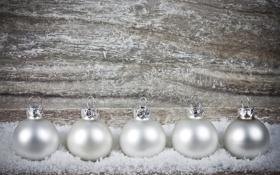 Обои зима, шарики, снег, игрушки, декорации, белые, Christmas