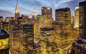 Обои Midtown, Нью-Йорк, Манхэттен, Financial District, свет, Крайслер-билдинг, Мидтаун