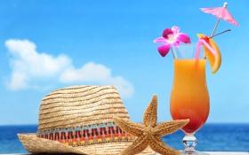 Картинка пляж, звезда, коктейль