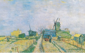 Обои картина, живопись, Ван Гог, Van Gogh, Gemüsegärten auf dem Montmartre
