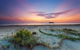 Обои закат, пейзаж, берег, море