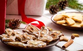 Картинка печенье, корица, выпечка, праздники, миндаль, новогоднее