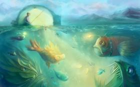 Картинка море, рыбы, рыбалка, арт, удочка, чудовища