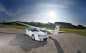Картинка машина, авто, солнце, обои, 911, Porsche, самолёт