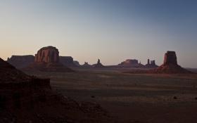 Обои горы, пустыня, долина, landscape, panorama, arizona, monument valley