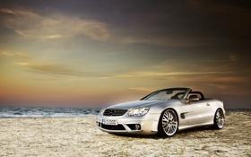 Картинка пейзаж, Mercedes, фото, auto, кабриолет, песок, cabrio
