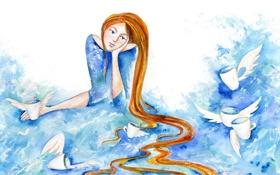 Обои акварель, кружки, крылья, девушка, рисунок, локоны