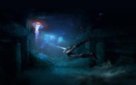 Обои ноги, под водой, медуза