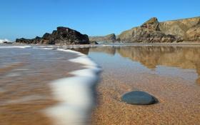 Картинка песок, море, пляж, океан, побережье, камень, England