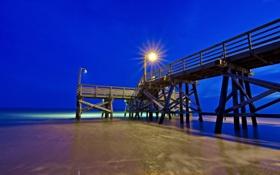 Обои море, ночь, мост