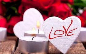 Обои сердце, розы, свечи, любовь