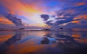 Картинка море, небо, облака, берег, вечер, отлив