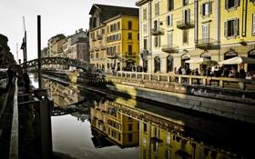 Обои италия, milan, милан, italy, canal, naviglio, навиглио