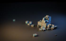 Обои фигура, поверхность, кубики, фокус