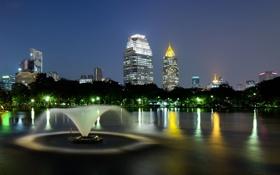 Картинка город, ночные огни, фонтан, Lumpini Park