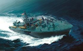 Обои катер, солдаты, американский, ВМС, торпедный, ELCO 80 PT-596