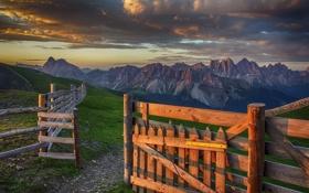 Картинка пейзаж, горы, природа, рассвет, забор, долина, ранче