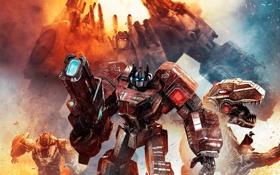 Картинка transformers, optimus prime, transformers fall of cybertron, grimlock