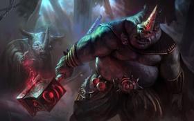 Картинка оружие, магия, свечение, молот, арт, монстры, носорог