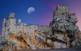 Обои море, небо, скала, замок, Луна, Испания, Андалусия