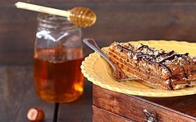 Картинка шоколад, мед, пирог, ложка, банка, торт, орехи