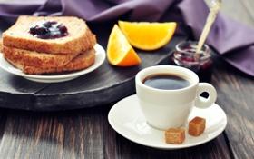 Картинка кофе, апельсин, еда, завтрак, хлеб, чашка, сахар