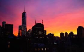 Картинка небо, закат, огни, небоскреб, дома, Нью-Йорк, вечер