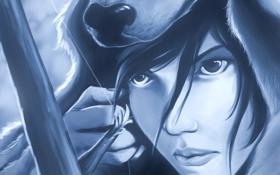 Картинка глаза, взгляд, девушка, лицо, оружие, волосы, игра