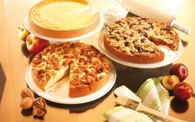 Обои ягоды, стол, яблоки, кофе, еда, фрукты, десерт