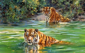 Картинка живопись, тигры, реки, Donald Grant