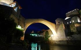 Обои ночь, мост, огни, река, дома, Босния и Герцеговина, Mostar
