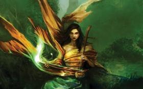 Картинка взгляд, листья, девушка, деревья, лицо, музыка, фантастика