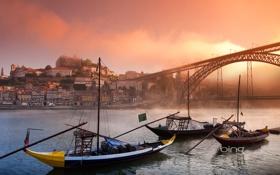 Обои пейзаж, мост, город, река, лодка, гондола, bing