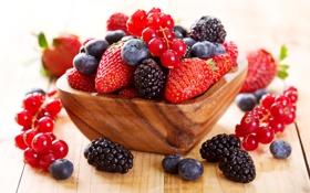 Картинка ягоды, клубника, чашка, fresh, смородина, ежевика, голубика