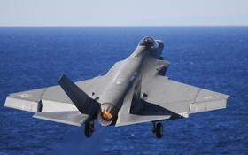 Картинка море, истребитель, бомбардировщик, Lightning II, F-35C