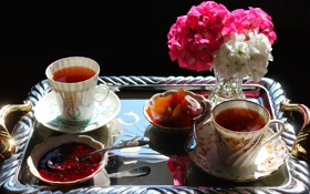 Обои цветы, чай, букет, чашка, ваза, натюрморт, джем