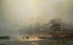 Обои село, Туман, красный пруд