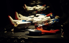 Обои dark, light, display, toy, gundam, blue, minimalism