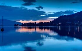 Обои вечер, побережье, яхта, озеро, огни