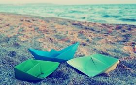 Обои песок, море, обои, цветные, бумажные кораблики