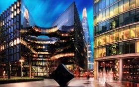 Картинка огни, Англия, здания, вечер, Великобритания, город Лондон, офисы
