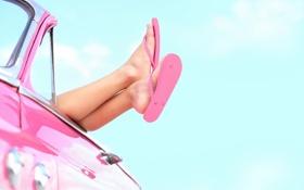 Картинка car, лето, небо, облака, розовый, ноги, summer