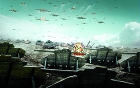 Обои поле, война, самолеты, war, танки, R.U.S.E., Thanks to terryz