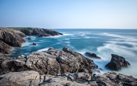 Картинка волны, океан, прилив, Бретань, скалистый берег, «Дикий берег», полуостров Кибероа