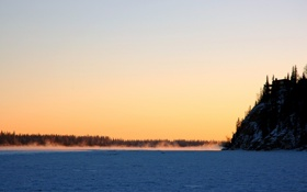 Обои холод, зима, снег, деревья, скалы, пейзажи, вид