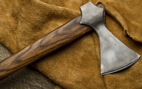 Обои axe, metal, wood, fabric