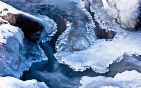 Картинка лед, вода, снег, поток